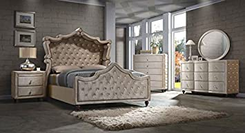 Diamond Canopy Bedroom Set Queen Size 6 Pc. Bed, 2 Night Stands, Dresser