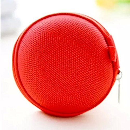 BestTopc Carrying Pocket Storage Canvas Earphone Case for Earphone MP3 Red Earphones Carrying Case