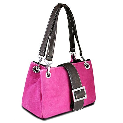 Strap Italian Slouch Shoulder Suede Double Hobo Pink Bucket Twin Womens Small Bag Leather Genuine TwqR7UF7