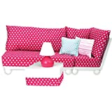 18 Inch Doll Furniture: 4 Pc. Complete White Wood Love Seat, Corner Chair, Ottoman, Lamp, Complete Cushion & Pillow Set Perfect for 18 Inch American Girl Doll Furniture & More! Doll Sofa Set