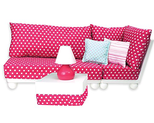 18 Inch Doll Furniture: 4 Pc. Complete White Wood Love Seat, Corner Chair, Ottoman, Lamp, Complete Cushion & Pillow Set Perfect for 18 Inch American Girl Doll Furniture & More! Doll Sofa Set (18 Inch Doll Furniture Couch)