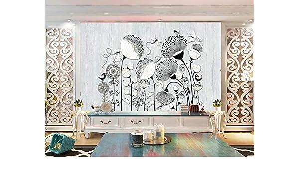 Mural Fotográfico Planta Minimalista Flor Abeja Mariposa 3D Arte ...