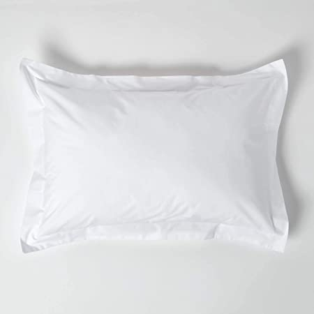HOMESCAPES White Pure Egyptian Cotton Oxford Pillowcase Standard Size 200 TC 400 Thread Count Percale Equivalent Pillow Case