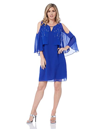 9305d9a9e297 ... Chiffon Overlay Party Dress - Ladies 3/4 Sleeve Knee Length Cold  Shoulder Chiffon Cocktail Parties Cocktail Evening Dresses: Amazon.co.uk:  Clothing