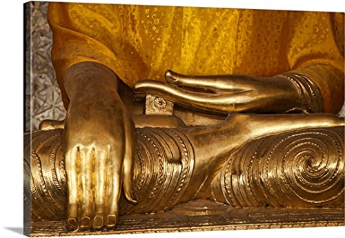 Scott Stulberg Premium Thick-Wrap Canvas Wall Art Print entitled Buddha in the Shwedagon Pagoda, Yangon, Burma (Scott Vintage Range)