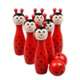 Winkey Toy for Baby kids Boy Girl, Cartoon Wooden Bowling Balls Children Animals Outdoor Fun & Sports Game Toy (Red)