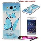 Galaxy Grand Prime] Case/ Galaxy G530 Case, MerKuyom [Clear Transparent] [Slim-fit] Thin [Flexible Gel] Soft TPU Cover Skin Case & Stylus For Samsung Galaxy Grand Prime G530 SM-G530 (Blue Butterfly)