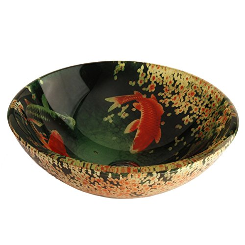 Fontaine Koi and Lily Pond Glass Vessel Bathroom Sink Fontaine Glass Vessel Sink