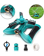 Garden Sprinkler, Automatic 360° Rotating Lawn Water Sprinkler Irrigation System for Large Lawn Area with 3 Arm Round Sprayer, Hose Easy to Connect