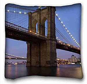 Soft Pillow Case Cover City Custom Cotton & Polyester Soft Rectangle Pillow Case Cover 16x16 inches (One Side) suitable for Queen-bed
