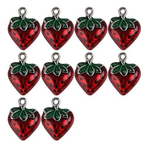 10Pcs Sweetly Enamel Alloy Strawberry Shape Charms Pendants Jewelry Findings (Digital Piano Troy)