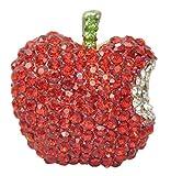 Gyn&Joy Golden Tone Ruby Red Rhinestones Bitten Apple Fruit Pin Brooch BZ166