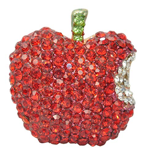 - Gyn&Joy Golden Tone Ruby Red Rhinestones Bitten Apple Fruit Pin Brooch BZ166