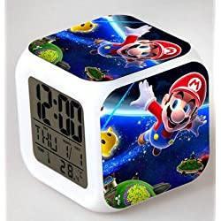 Enjoy Life : Cute Digital Multifunctional Alarm Clock With Glowing Led Lights and stickered Super Mario , Good Gift For Your Kids , Comes With Bonuses. Part 2 (13)