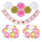 Lily & Peony 46 Pieces 'It's a Girl' Party Decoration Set- Includes 'It's a Girl' Banner, 6 Paper Pom Poms and 30 Party Balloons. Perfect for a Baby Shower or Gender Reveal Party!