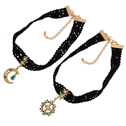 WeiVan 2 Pcs Gothic Retro Black Lace Choker Necklace Moon Star and Sun Set Sister Family Jewelry