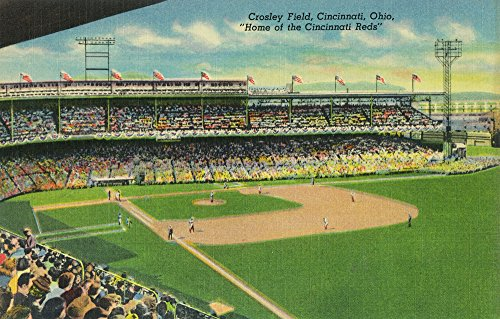 Cincinnati, Ohio - First Base Bleachers View of Crosley Field (12x18 Signed Print Master Art Print w/Certificate of Authenticity - Wall Decor Travel Poster)