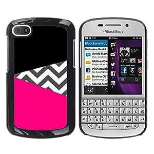 iKiki Tech / Estuche rígido - Black Pink Pattern Fashion Design - BlackBerry Q10