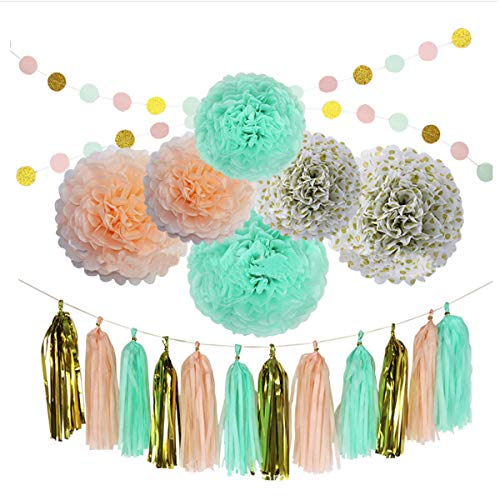 Unichart 20 Pcs Paper Pom Poms Party Tissue Paper Flowers Multi-Color Tissue Flowers for Wedding Birthday Baby Shower Halloween Christmas Home Outdoor Decoration ()