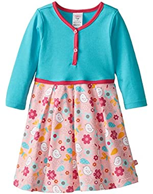 Baby Girls' Friendly Bird Pretty Pleats Dress, Pink