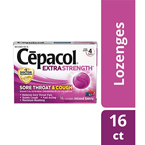 Cepacol Extra Strength Sore Throat Relief Lozenges, Mixed Berry Cough Drops, Maximum Numbing- Fast Acting Sore Throat & Canker Sore Relief with Dextromethorphan & Benzocaine, 16 Count (Pack of 3)