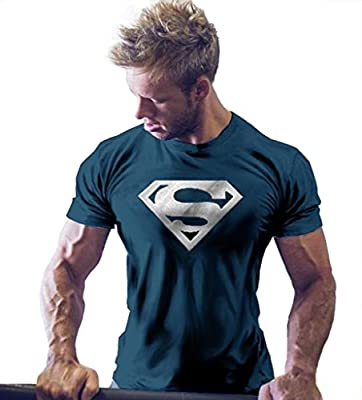 InleaderStyle Men's Gym Cotton Golden S Logo Bodybuilding Muscle NavyBlue T-shirt