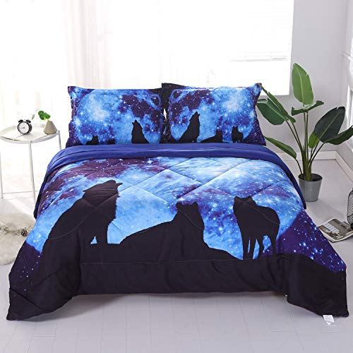 Wowelife Galaxy Wolf Comforter Sets Full 5 Piece Wolf Bedding Set Blue with Comforter, Flat Sheet, Fitted Sheet and 2 Pillow Cases(Full-5 Piece, Moon Wolf) (Wolf Bedding Full Size)