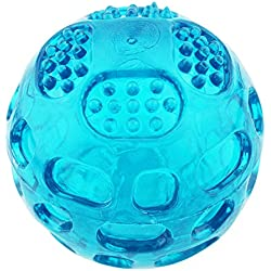 Aduck Pet Puppy Dog Squeaky Fetch Ball Toys [Meteorites Bouncy Series] Bite Resistant Squeeze Chew Toy for Aggressive Chewers [Non-Toxic Soft Rubber], Cute Crystal Blue Ball Design - 3.15 Inches