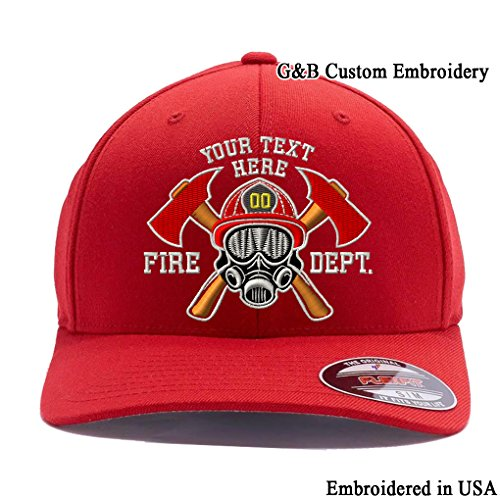 G&B Custom Embroidered Firefighter Hats. 6477, 6277 Flexfit Baseball Caps (L/XL, Red) ()
