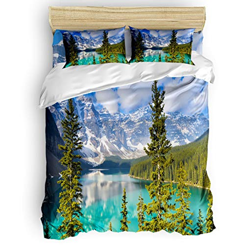 GreaBen Queen Beding Duvet Cover Sets 4 Pieces Comforter Cover Set,Calgary Lake Rock Mountain Bed Sheet Set for Girls Boys,Include 1 Comforter Cover 1 Bed Sheets 2 Pillow Cases]()