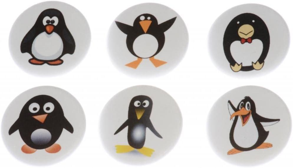 Set of 6 PENGUINS Magnets - Cute Funny Emo Penguin