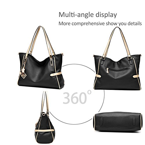 Body Bags Fashion Handle Bags Black Black Bags Tote Bags Cross amp;Doris Handbags Top Nicole Leather Shoulder PU Ladies Shopping Large Women's Capacity qUCWwxOH