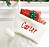 White Cable Knit Christmas Stocking