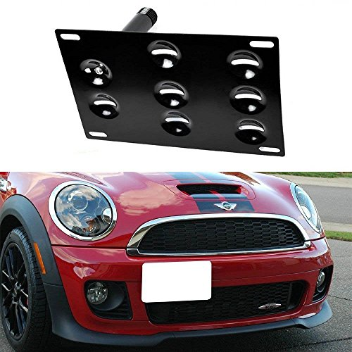 iJDMTOY Euro Style Front Bumper Tow Hole Adapter License Plate Mounting Bracket For 2010-2016 MINI Cooper R60 Countryman