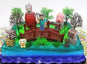 Amazoncom MINECRAFT 14 Piece Birthday CAKE Topper Set Featuring