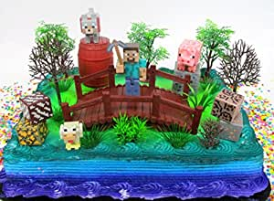 """MINECRAFT 14 Piece Birthday CAKE Topper Set Featuring Random Minecraft Figures and Decorative Themed Accessories, Figures Average 1"""" to 3"""" Inches Tall"""
