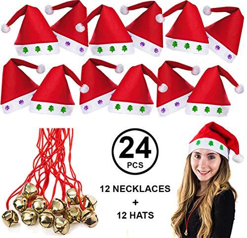 (Tigerdoe Santa Hats Bulk - Dozen Santa Hats - Dozen Jingle Bell Necklaces - Christmas Hats (24)