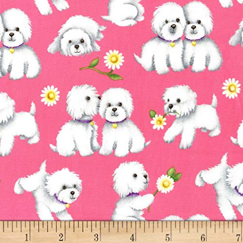 Michael Miller Paw Prints ASPCA Retro Rover Fabric, Girl, Fabric By The Yard (Retro Quilting Fabric)
