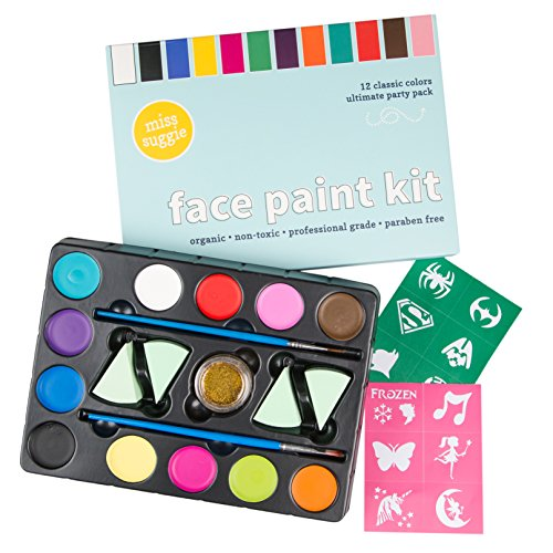 (Miss Suggie Face and Body Paint Kit Safe for Baby, Kids and Adults | Includes 2 Brushes, 12 Stencils, 1 Glitter | Professional Painting Quality Organic Non-Toxic Eco Water Based)