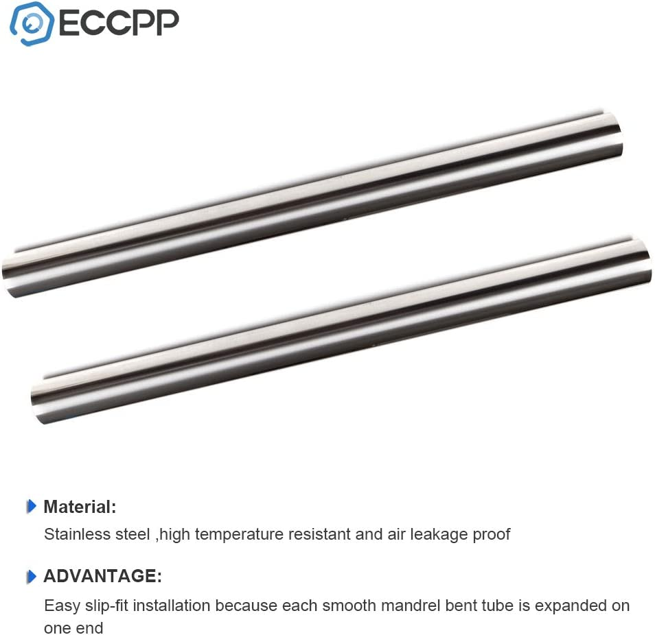 2 pcs 3.5 Exhaust Pipe Tube Piping Tubing 89mm T304 Stainless Steel Straight 4FT