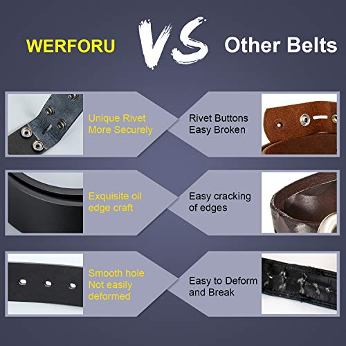 WERFORU Snap Buckle Belt For Men,Replacement Leather No Buckle Belt Strap with Snaps