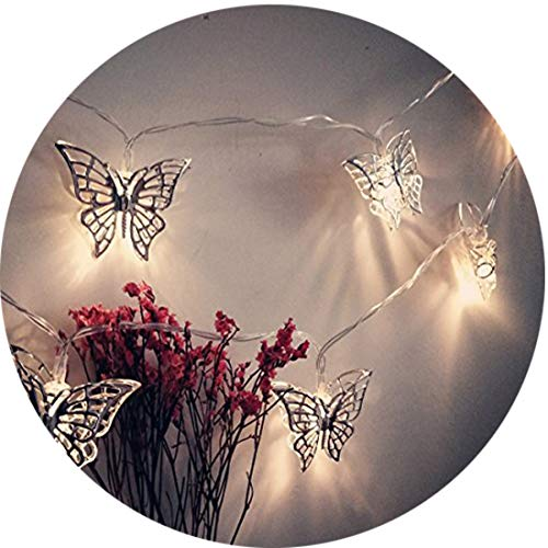 fantastic me 10ft 20 LED Iron Butterfly Fairy String Lights Night Lamp-Battery Powered-Decoration for Home Bedroom Kids Nursery Room Christmas Tree Wedding Party - Lamp Fairy Butterfly