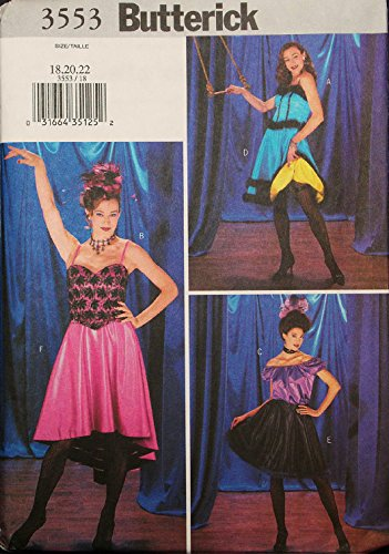 Butterick 3553 Marilyn Monroe Dress, Misses' Dress and Shawl Can Can Dancer Western Saloon Sewing Pattern Misses Size -
