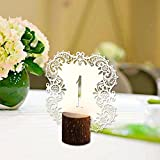 vintage table number holders - Xiaolanwelc@ 10pcs/set Rustic Wedding Table Number Table Cards with Wooden Holder Vintage Wedding Decoration Event Party Supplies (Ivory)