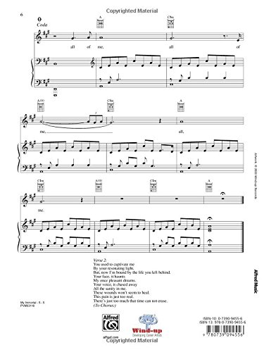 My Immortal Pianovocalchords Sheet Evanescence 9780739094556