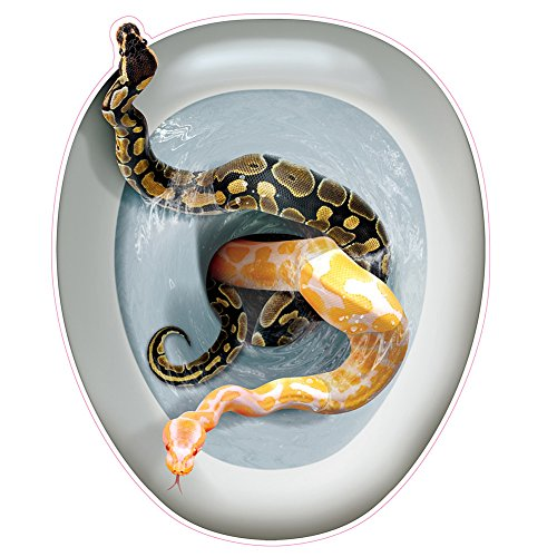 Creepy Toilet Lid Cling SNAKES Peel 'N Place Topper