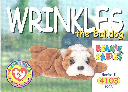 TY Beanie Babies BBOC Card - Series 1 Common - WRINKLES the Bulldog