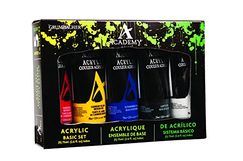 Grumbacher Academy Acrylic Paint Basic Set, 75ml/2.5 Ounce Plastic Tubes, 5-Color Set (BASICSET)