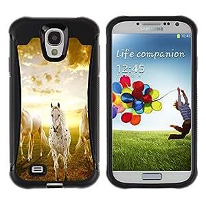 iKiki Tech / Estuche rígido - Clouds Horses Nature Sunset Mustang - Samsung Galaxy S4 I9500