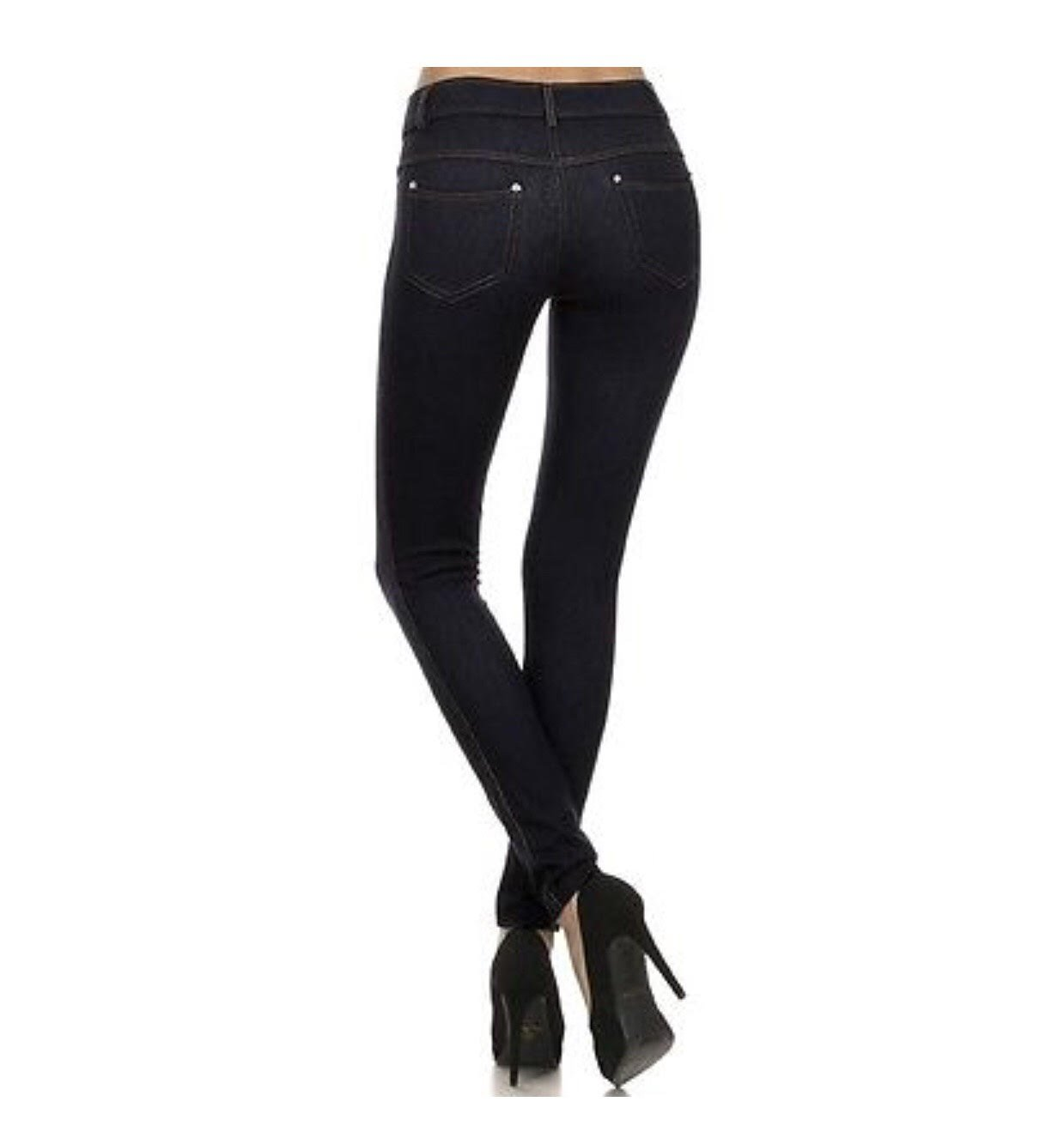 Yelete Womens Basic Five Pocket Stretch Jegging Tights Pants, Black, Medium